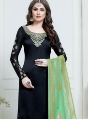 Black Georgette Satin Churidar Salwar Suit