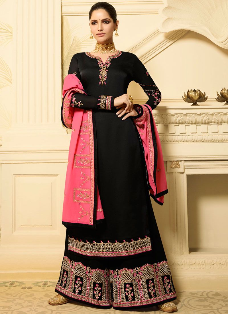 Black Georgette Satin Mehndi Designer Palazzo Salwar Kameez