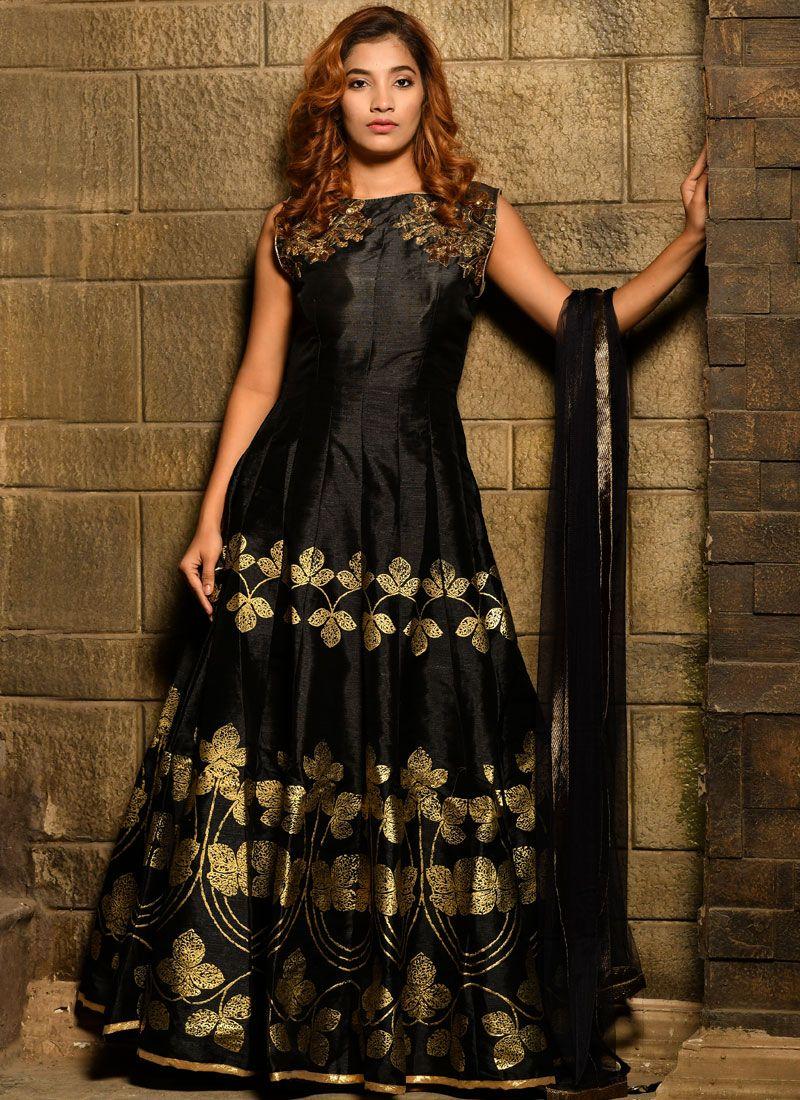 Black Handwork Designer Gown