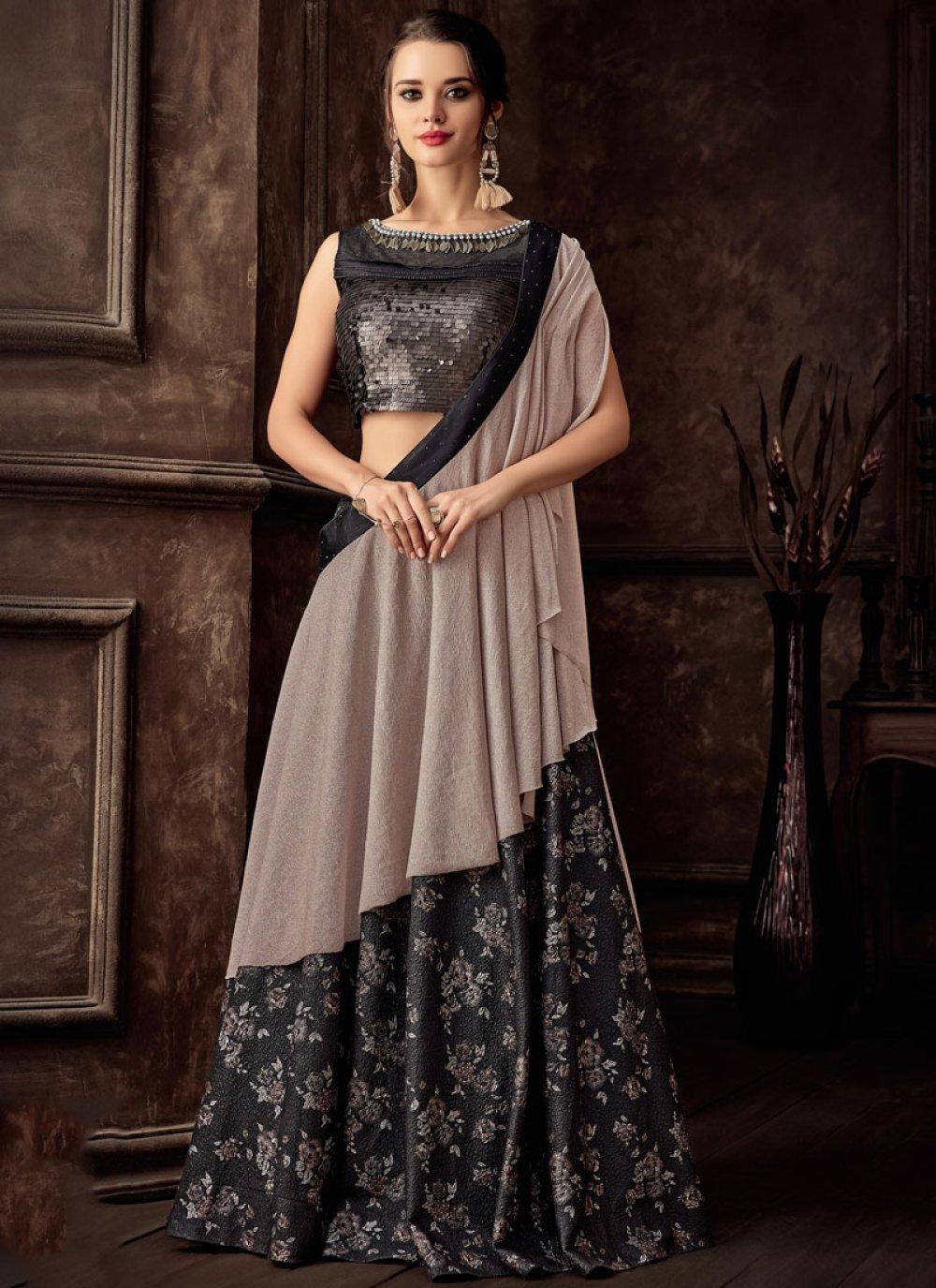 Black Jacquard Reception Lehenga Style Saree
