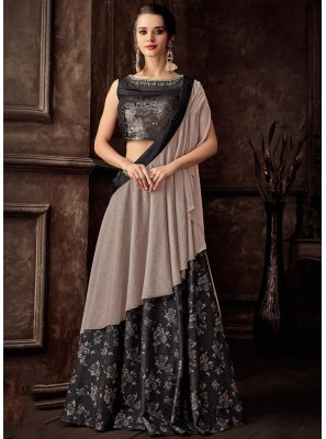 Black Jacquard Reception Lehenga Style Saree