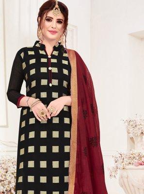 Black Jacquard Silk Casual Churidar Suit
