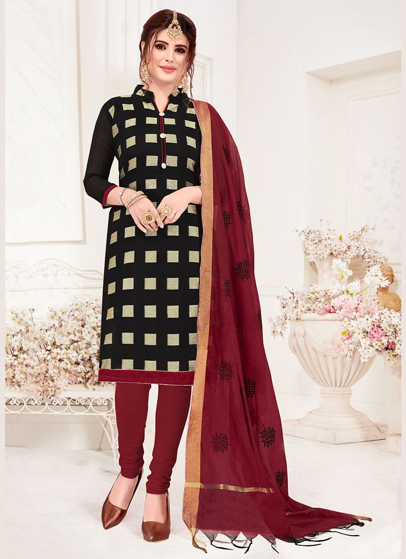 Black Jacquard Silk Casual Churidar Suit