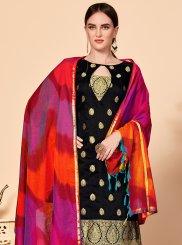 Black Jacquard Silk Churidar Salwar Kameez