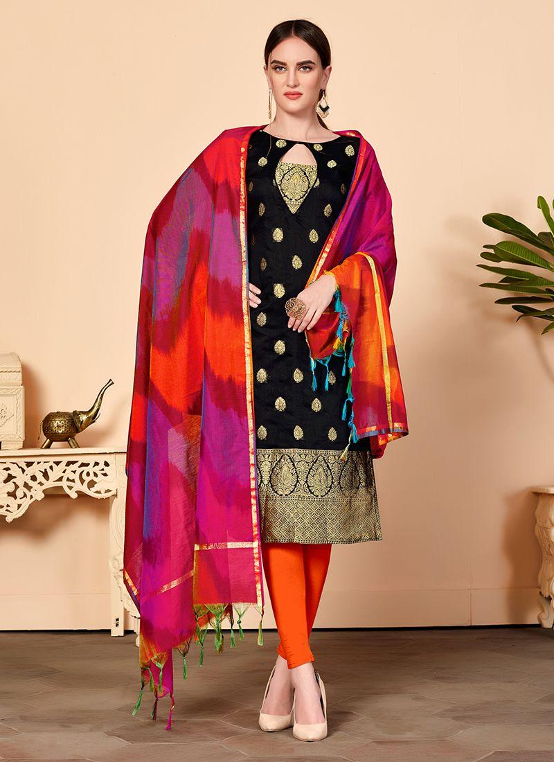 6503259b00 Buy Online Black Jacquard Silk Churidar Salwar Kameez : 110403 -
