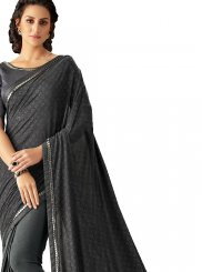 Black Lycra Lace Trendy Saree