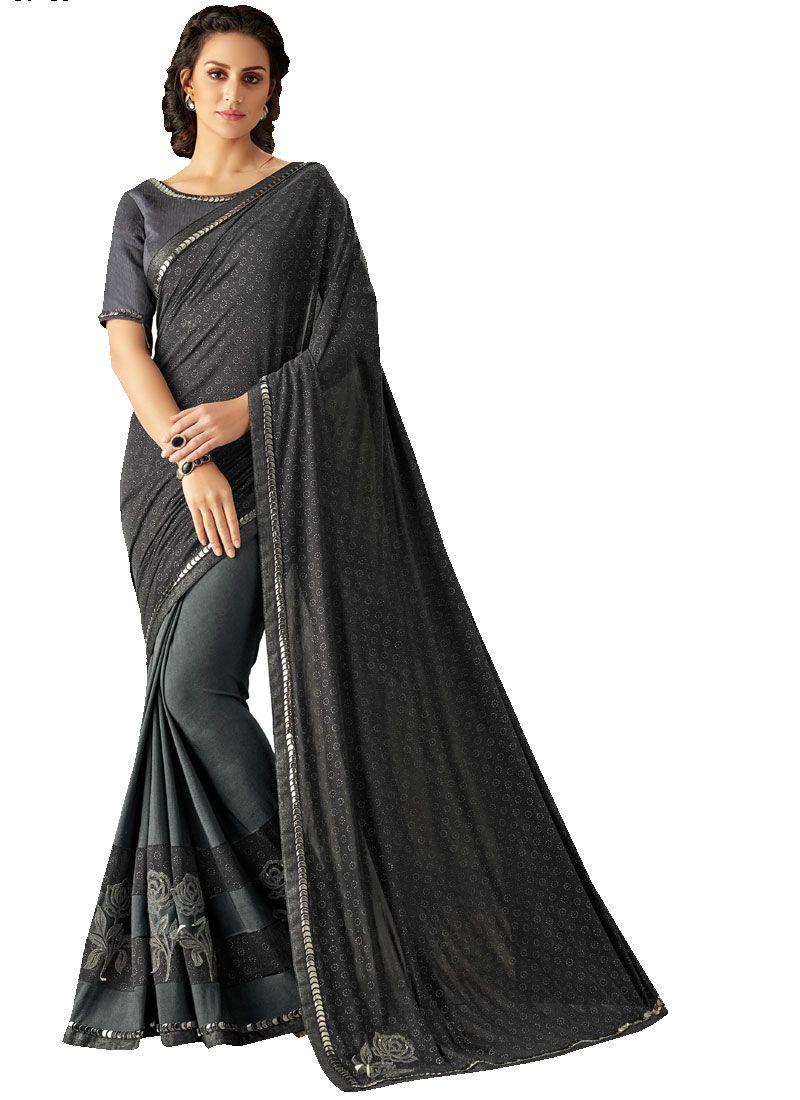 Black Lycra Lace Trendy Saree
