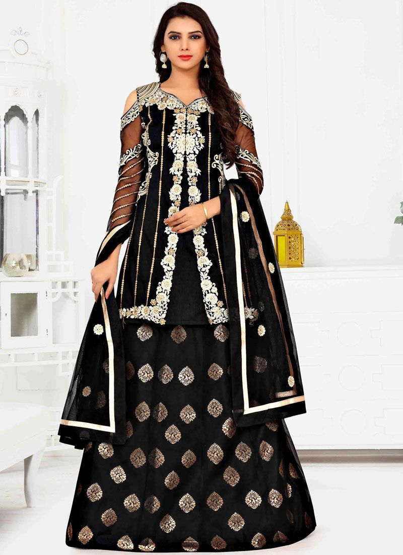 Black Mehndi Net Anarkali Salwar Suit