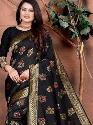 Black Mehndi Silk Saree