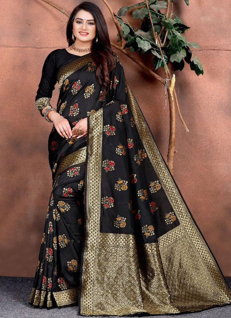 Black Mehndi Silk Saree