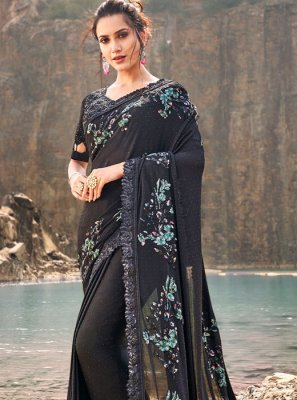 Black Net Reception Classic Designer Saree