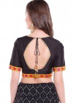 Black Party Art Banarasi Silk Designer Blouse