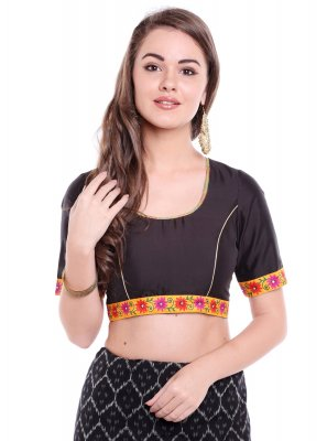 Black Party Art Banarasi Silk Designer Blouse