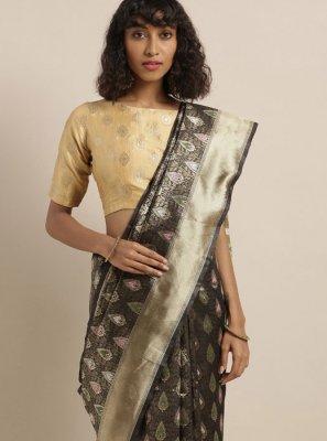 Black Party Art Silk Silk Saree