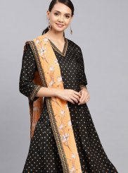 Black Party Poly Silk Designer Palazzo Suit