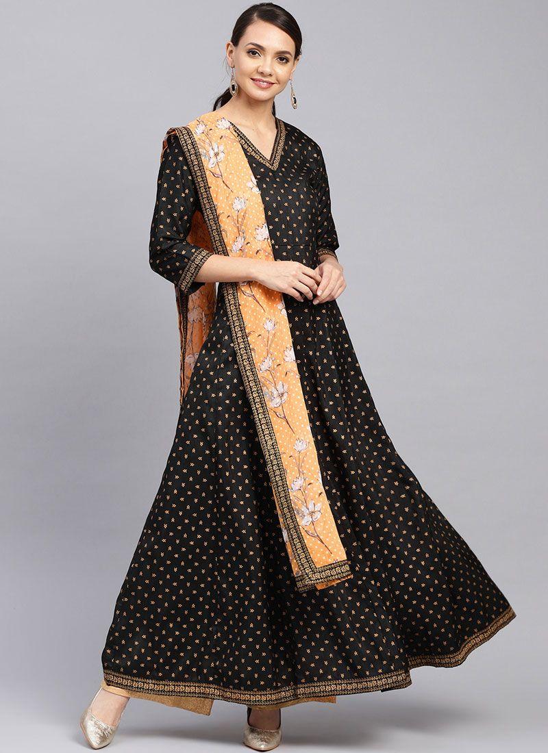 Black Party Poly Silk Designer Palazzo Suit