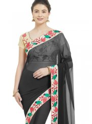 Black Patch Border Casual Casual Saree