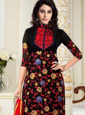 Black Patch Border Faux Georgette Churidar Designer Suit