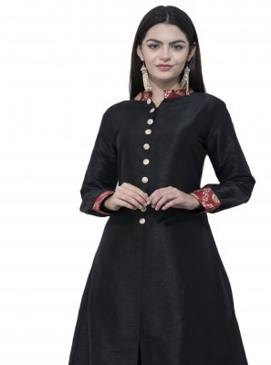Black Plain Casual Kurti
