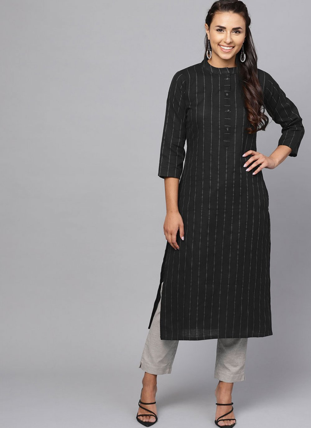 Black Plain Festival Casual Kurti