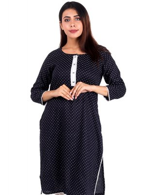 Black Plain Party Designer Kurti