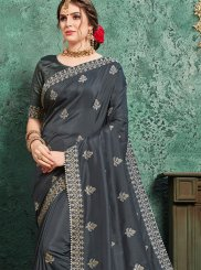 Black Poly Silk Patch Border Traditional Designer Saree