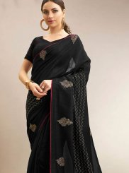 Black Print Chanderi Traditional Saree