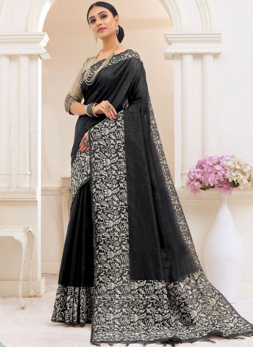 Black Printed Cotton Trendy Saree