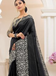 Black Printed Cotton Trendy Saree