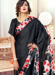 Black Printed Faux Crepe Casual Saree