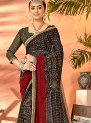 Black Printed Traditional Saree