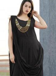 Black Rayon Designer Gown