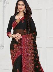 Black Resham Georgette Trendy Saree