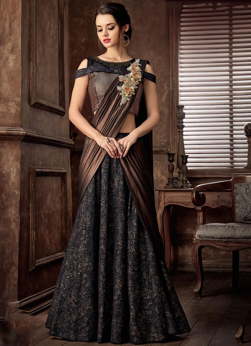 Black Resham Lehenga Style Saree