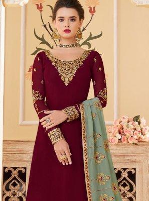 Maroon Sangeet Designer Palazzo Salwar Suit
