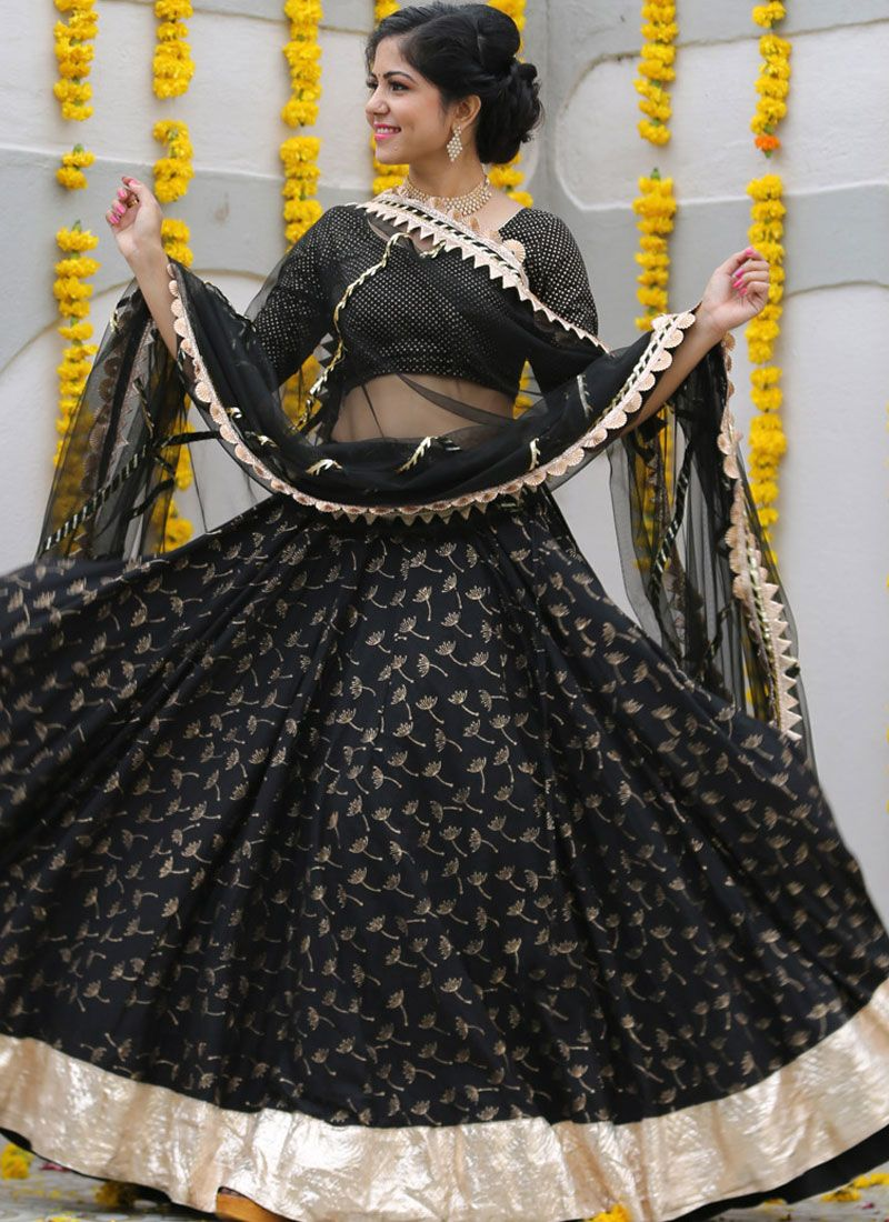 Black Sangeet Readymade Lehenga Choli