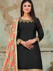 Black Satin Designer Patiala Suit
