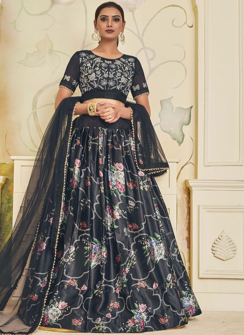 Black Satin Lehenga Choli