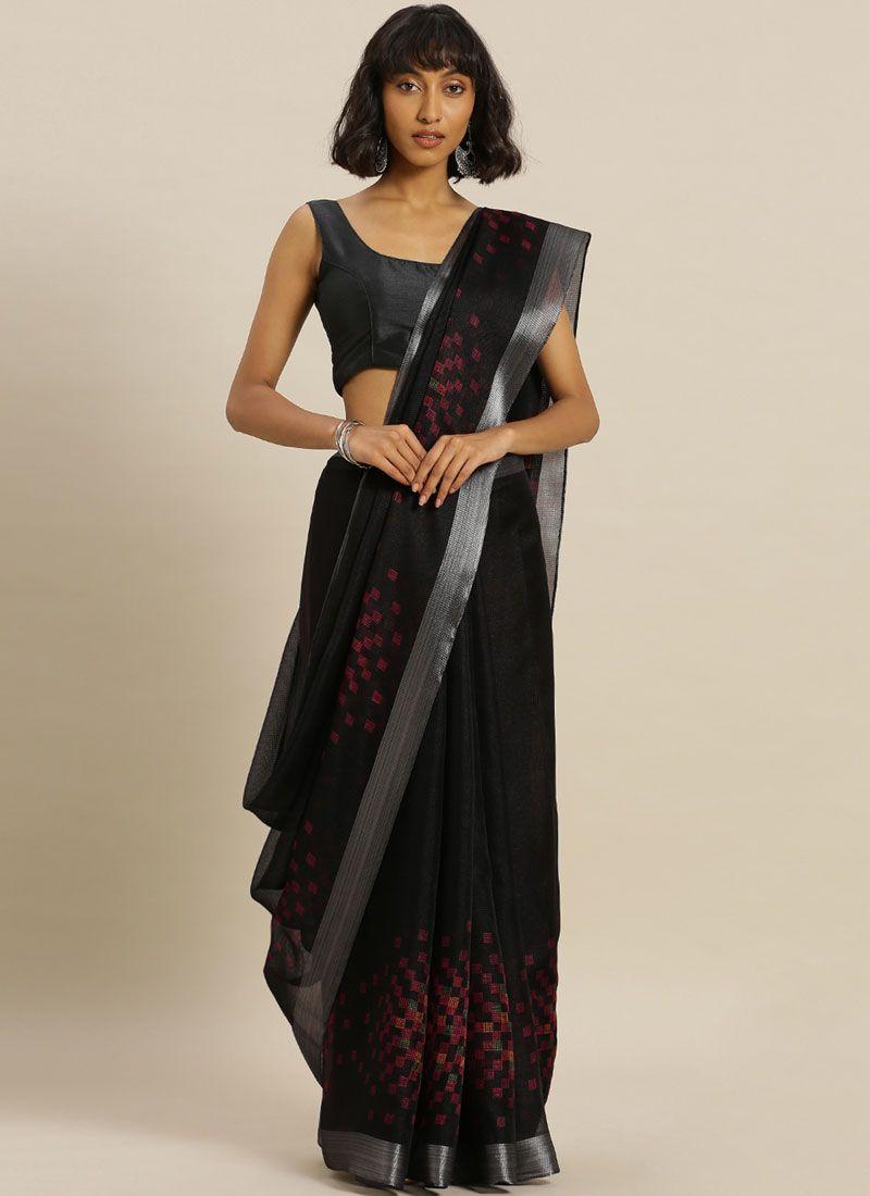 Black Silk Printed Casual Saree