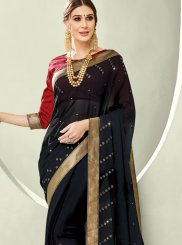 Black Stone Faux Chiffon Trendy Saree
