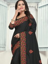 Black Stone Work Silk Classic Designer Saree
