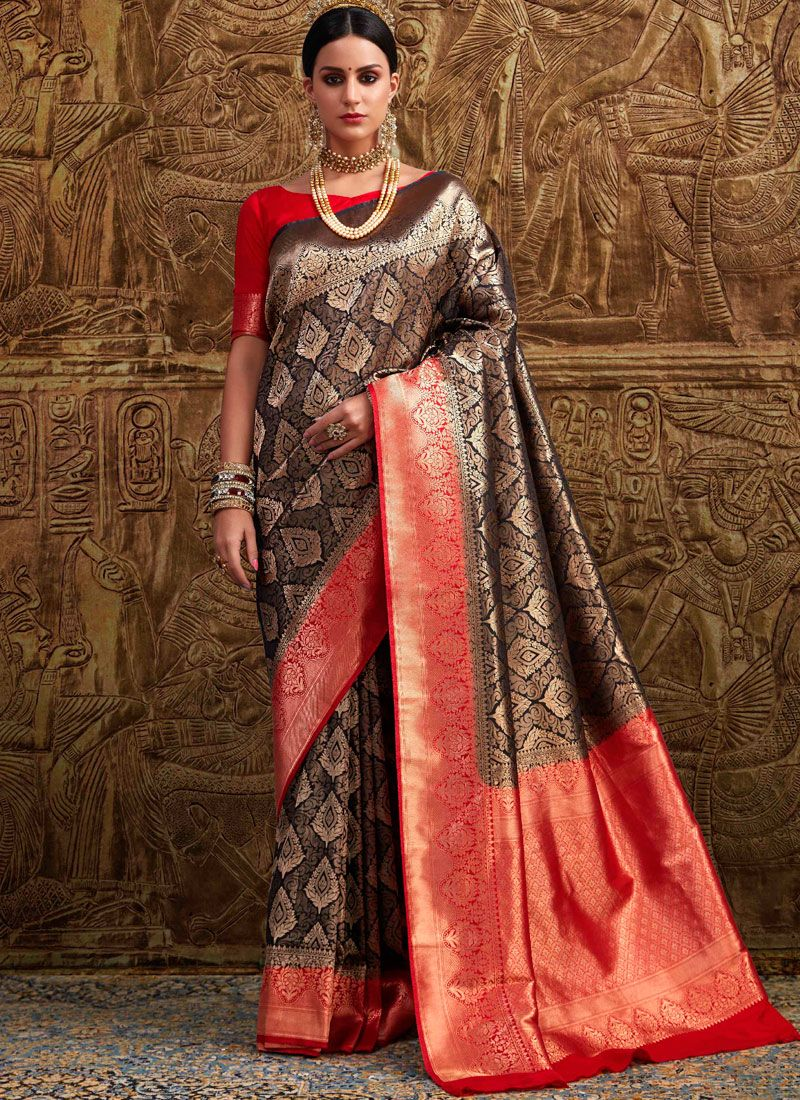 Black Traditional Designer Saree
