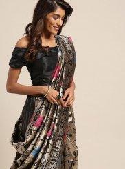Black Weaving Art Silk Casual Saree