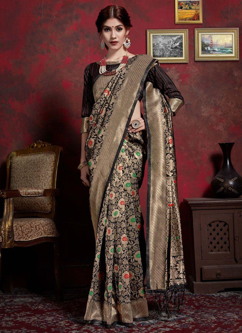 Black Weaving Art Silk Classic Saree