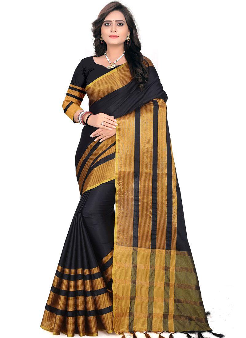 Black Weaving Cotton Casual Saree