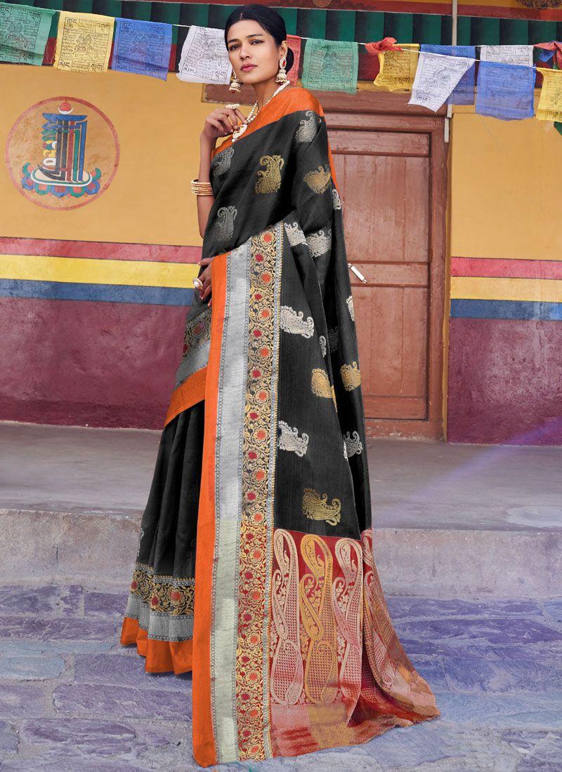 Black Weaving Designer Traditional Saree