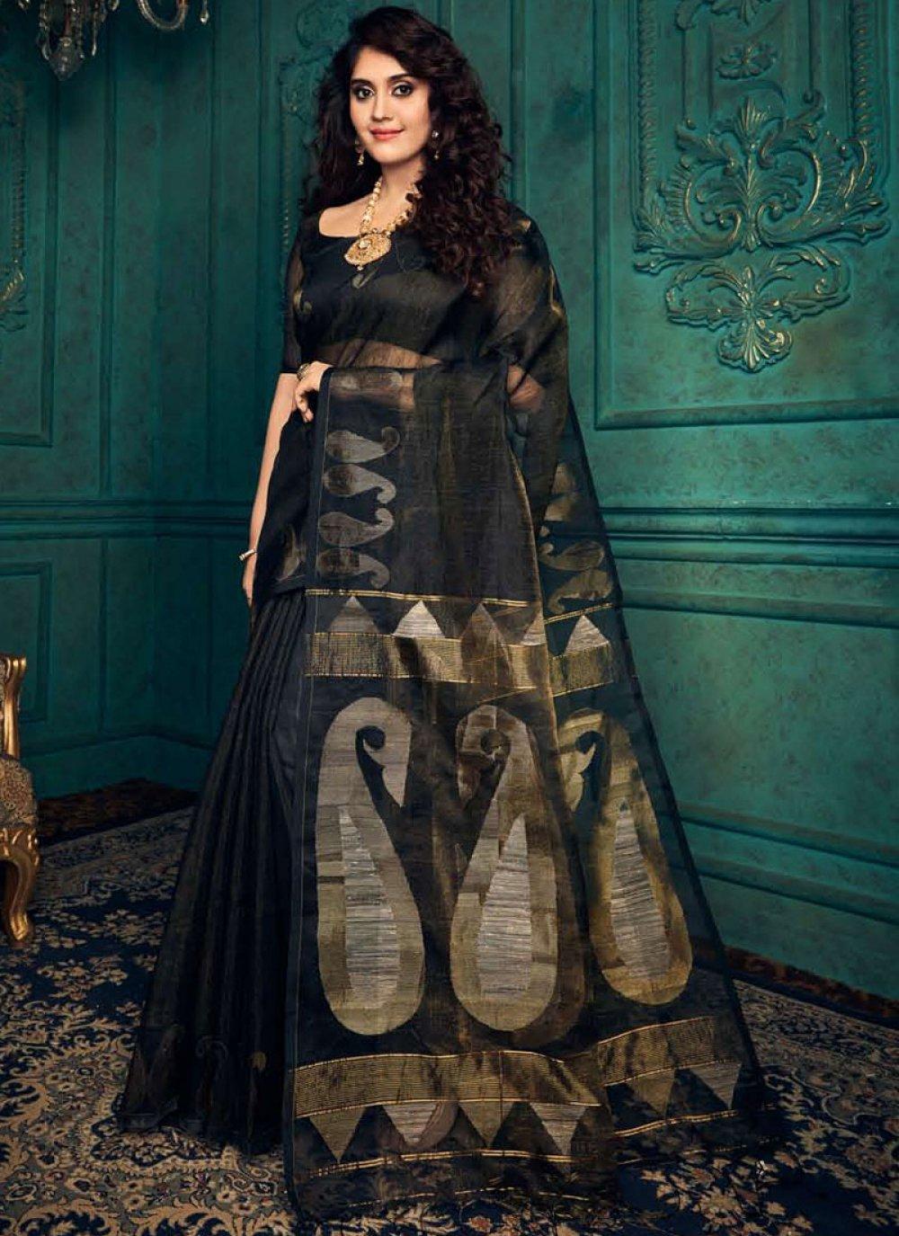 Black Weaving Silk Designer Traditional Saree