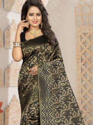 Black Weaving Work Kanchipuram silk Designer Traditional Saree