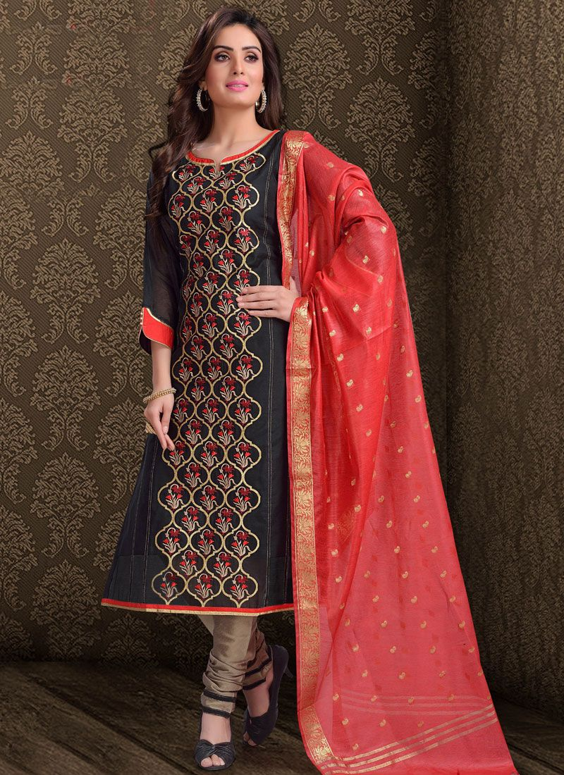 Black Wedding Chanderi Churidar Salwar Kameez