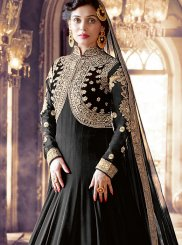 Black Wedding Faux Georgette Floor Length Anarkali Suit